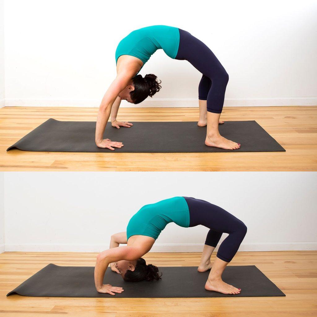 Stretch using a desk